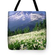 An Alpine Slope Turns White Tote Bag