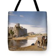An Arab Caravan Outside A Fortified Town Tote Bag by Jean Leon Gerome