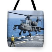 An Army Ah-64d Apache Helicopter Tote Bag