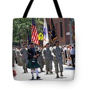 An Army Battalion Marching In The 200th Anniversary St. Patrick Old Cathedral Parade Tote Bag