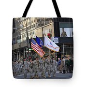An Army Outfit Marching In The 2009 New York St. Patrick Day Parade Tote Bag