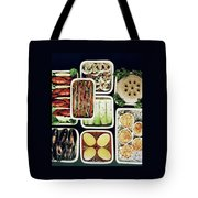 An Assortment Of Food In Containers Tote Bag