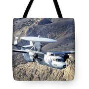 An E-2c Hawkeye Aircraft Flies Tote Bag