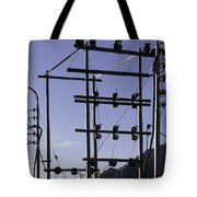 An Electric Transmission Pole In The Himalayas Tote Bag