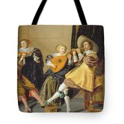An Elegant Company Playing Music In An Tote Bag by Dirck Hals