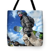 An Extreme Snowboarder Stands Tote Bag