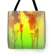 Donkey Mother And Son On An Extremely Hot Day  Tote Bag