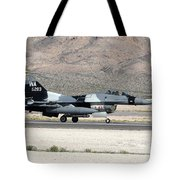 An F-16c Aggressor Jet Landing Tote Bag