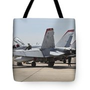 An Fa-18c Hornet Being Readied Tote Bag