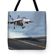 An Fa-18f Super Hornet Prepares To Land Tote Bag