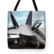 An Fa-18f Super Hornet Sits Tote Bag by Stocktrek Images