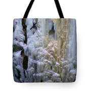 An Ice Climber Ascends A Frozen Tote Bag