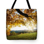 Sunset Over The Hill. Tote Bag