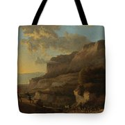 An Italianate Landscape With Travellers Ambushed By Bandits Tote Bag