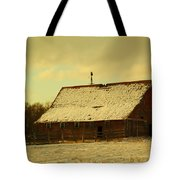 An Old Barn Just After An Early Spring Snow In Keene North Dakota  Tote Bag