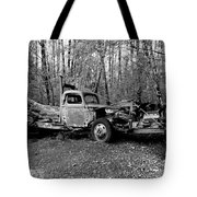 An Old Logging Boom Truck In Black And White Tote Bag