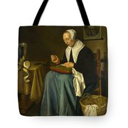 An Old Woman Seated Sewing Tote Bag