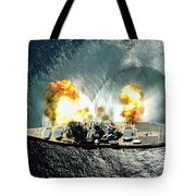 An Overhead View Of The Battleship Uss Iowa Bb61 Firing All 15 Of Its Guns Tote Bag