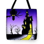 An Owl Some Cats And A Spooky House Tote Bag
