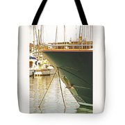 Anchored Yacht In Antibes Harbor Tote Bag