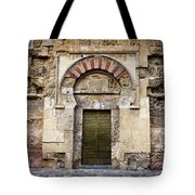 Ancient Door To The Mezquita In Cordoba Tote Bag