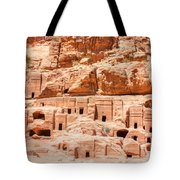 Ancient Dwellings At Petra Tote Bag by David Birchall