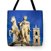 Ancient Marble Sculpture Of Castor At The Cordonata Stairs  Tote Bag