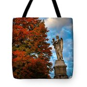 Angel And Boy In Foliage Scenery Tote Bag
