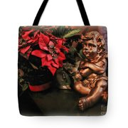 Angel And Poinsettia Tote Bag