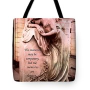 Angel Art - Memorial Angel Weeping Sorrow At Grave With Inspirational Message - Memories Are Forever Tote Bag