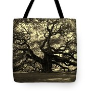Angel Oak Tree Sepia Tote Bag