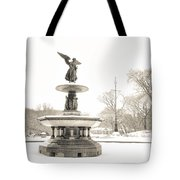 Angel Of The Waters - Central Park - Winter Tote Bag