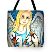 Angel Sheltering Seven Swans Tote Bag