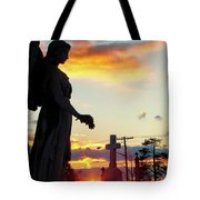 Angel Silhouette In Burst Of Colors Tote Bag