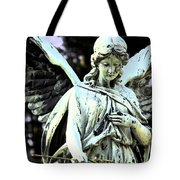 Angel With A Red Rose Tote Bag