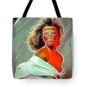 Angela Leather Red Fractal Tote Bag