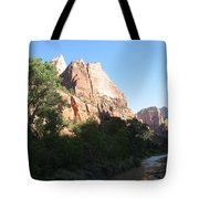 Angels Landing And Virgin River - Zion Np Tote Bag