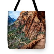 Angels Landing Trail From High Above Zion Canyon Floor Tote Bag