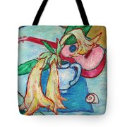 Angel's Trumpet Flowers And A Ukulele Tote Bag