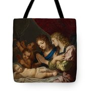 Angles Adoring The Sleeping Christ Tote Bag