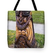 Angry Tiki From A Palm Tree Stump Tote Bag