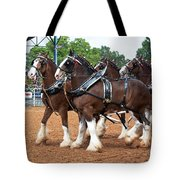 Anheuser Busch Budweiser Clydesdale Horses In Harness Usa Rodeo Tote Bag