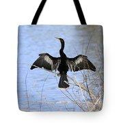 Anhinga Over Blue Water Tote Bag