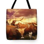 animals - cows- Longhorns La Familia  Tote Bag by Ann Powell