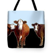 Animals Cows Three Pop Art With Blue Tote Bag
