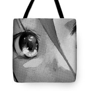 Anime Girl Eyes Black And White Tote Bag