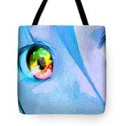 Anime Girl Eyes Blue Tote Bag