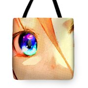 Anime Girl Eyes Gold Tote Bag