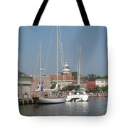 Annapolis Harbor Alongside Dock Street Tote Bag
