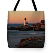 Annisquam Lighthouse At Sunset Tote Bag